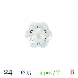 Tube 4 boutons fleur blanc Ø 15mm