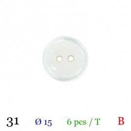 Tube 6 boutons blanc Ø 15mm