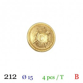 Tube 4 boutons en métal doré Ø 15mm