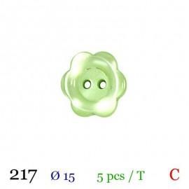 Tube 5 boutons fleur vert Ø 15mm