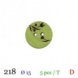 Tube 5 boutons vert à fleurs Ø 15mm