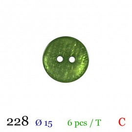 Tube 6 boutons vert nacré Ø 15mm