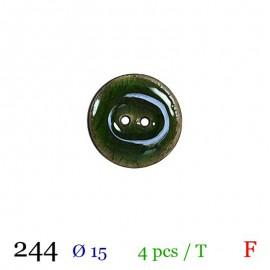 Tube 4 boutons vert brillant Ø 15mm