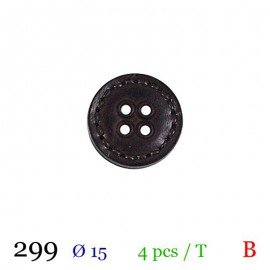 Tube 4 boutons simili cuir marron Ø 15mm