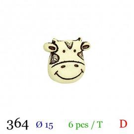 Tube 6 boutons vache écru 15mm