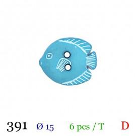 Tube 6 boutons poisson bleu Ø 15mm