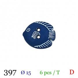 Tube 6 boutons poisson marine Ø 15mm