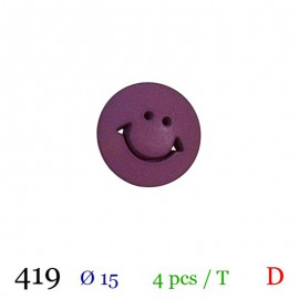 Tube 3 boutons smiley violet Ø 15mm