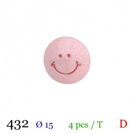 Tube 3 boutons smiley rose Ø 15mm