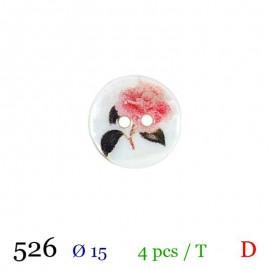 Tube 4 boutons blanc fleur Ø 15mm
