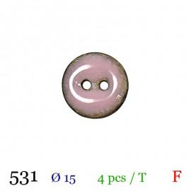 Tube 4 boutons rose brillant Ø 15mm