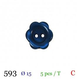 Tube 5 boutons fleur bleu marine Ø 15mm