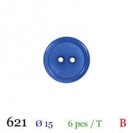 Tube 6 boutons bleu roy Ø 15mm