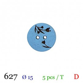 Tube 5 boutons bleu à fleurs Ø 15mm