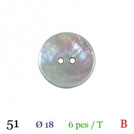 Tube 6 boutons gris nacré Ø 18mm