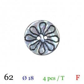 Tube 4 boutons métal fleur Ø 18mm