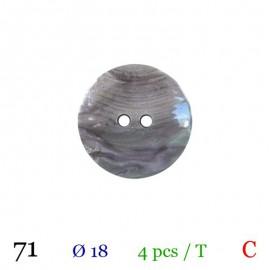 Tube 4 boutons gris nacré Ø 18mm