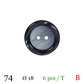 Tube 6 boutons noir Ø 18mm