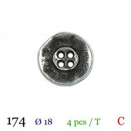 Tube 4 boutons métal usé Ø 18mm