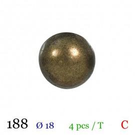 Tube 4 boutons boule métal Ø 18mm