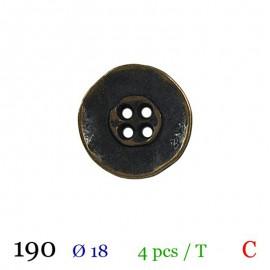 Tube 4 boutons métal usé marron Ø 18mm