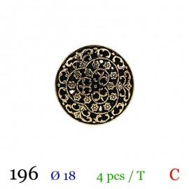 Tube 4 boutons métal arabesques Ø 18mm
