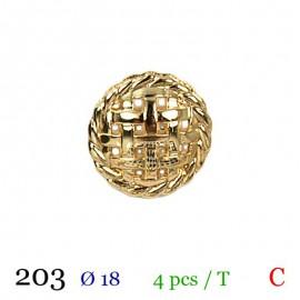 Tube 4 boutons métal doré Ø 18mm