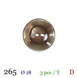 Tube 3 boutons marron brillant Ø 18mm