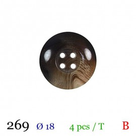 Tube 4 boutons marron Ø 18mm