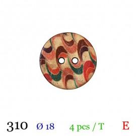 Tube 4 boutons bois vagues multicolores Ø 18mm