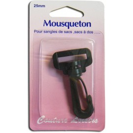 Mousqueton pour sangle 25mm col.noir