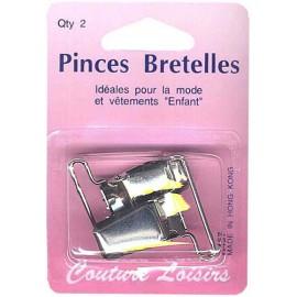 Pinces pour bretelles couleur nickelée X2