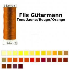 Fil pour tout coudre 100m - Tons Jaune/Rouge/Orange - Gütermann