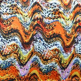 Tissu Satin de Soie imprimé vagues sur ton orange
