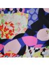 Tissu Satin de Soie imprimé fleurs et geometrique