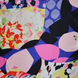 Tissu Satin de Soie imprimé fleurs et geometrique x10cm