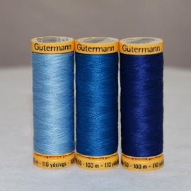 Fil de coton naturel 100m -Bleu- Gütermann