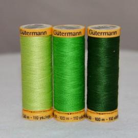 Fil de coton naturel 100m -Vert- Gütermann