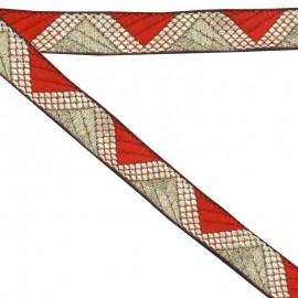 Ruban géométrique rouge 20 mm