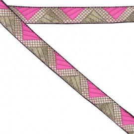 Ruban géométrique rose 20 mm