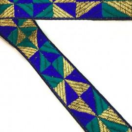 Ruban graphique bleu et vert 25 mm