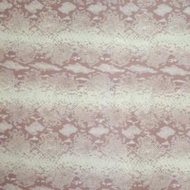 Tissu Satin de Soie imprimé serpent rose coté mat x10cm