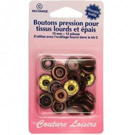 Boutons pression pour tissus lourds et épais- Bronze