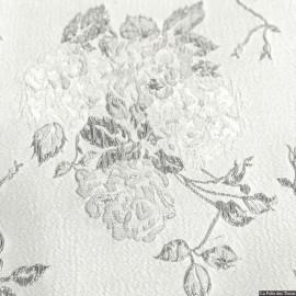 Brocart fleurs argent fond écru X10CM