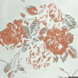 Brocart fleurs orange et argent X10CM