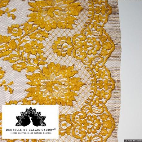 Tissu Dentelle de calais noisette x10cm