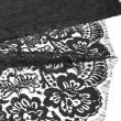 Tissu Dentelle de calais fleurs noir x10cm