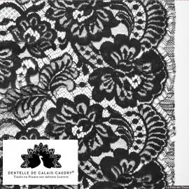 Tissu Dentelle de calais® fleurs noir x10cm