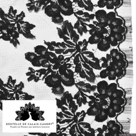 Tissu Dentelle de calais® noir bucolique x10cm