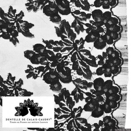 Tissu Dentelle de calais noir bucolique x10cm